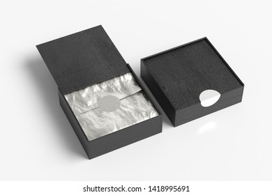 Two black wooden square boxes with sliding lid on white background. Opened with wrapping paper and closed boxes. 3d illustration