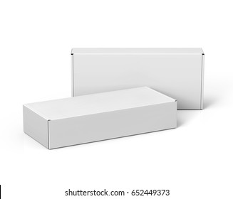 two blank 3d rendering roll end tuck top boxes, isolated white background
