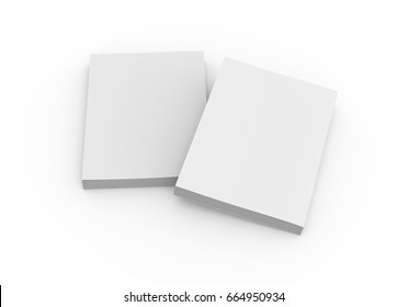 two blank 3d rendering thick books, one left tilt, isolated white background, elevated view