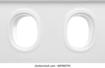 Two blank airplane illuminators. Mock up, 3D Rendering