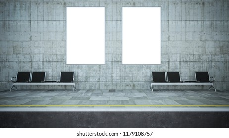 two blank billboard posters on underground station 3d rendering mockup