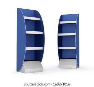 two blank blue and gray displays with shelves on white. render