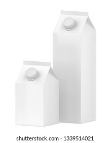 Two blank containers for milk, juice or other beverages. 3D illustration