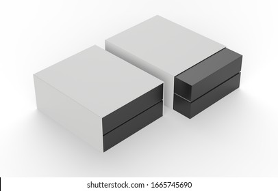 two blank packages isolated on white background. 3d illustration