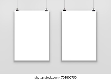 Two Blank paper poster mockup isolated on a gray background, 3d Illustration.