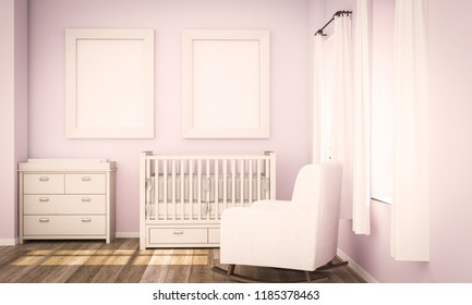 two blank posters on pink baby room 3d rendering