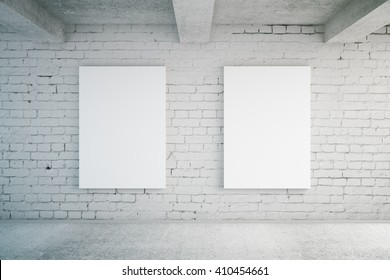 Two blank posters in room with brick wall and concrete floor. Mock up, 3D Rendering