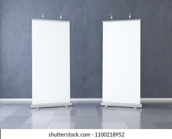 Two Blank roll up banner display. Template mockup. 3d render