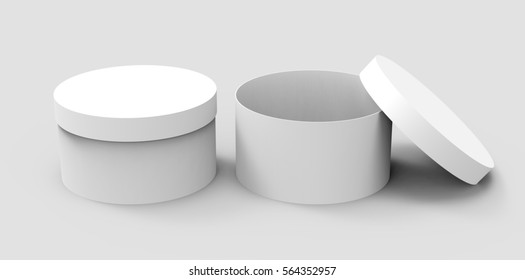 Two blank round boxes, paper box mockups isolated on light gray background in 3d rendering