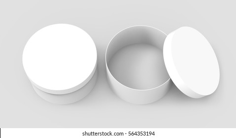 Two blank round boxes, paper box mockups isolated on light gray background in 3d rendering, elevated view