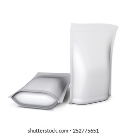 Two blank stand up pouch foil or plastic packaging with zipper isolated on white background