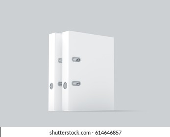 Two blank white ring binders mockups stand, 3d rendering. Empty closed self-binder mock ups with stack of a4 paper. Office supply cardboard folder branding presentation. Desk lever arch file cover.