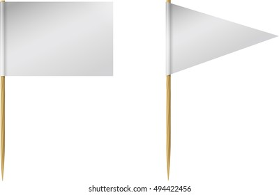 Two blank, or white, toothpick flags, one rectangle and one triangle, on wooden toothpicks.