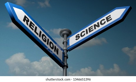 Two blue arrow street signs pointing to different directions, with the writes Religion and Science - 3D rendering illustration