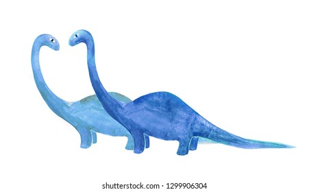 Two blue dinosaurus hand drawn raster illustration in naive style isolated on white.
