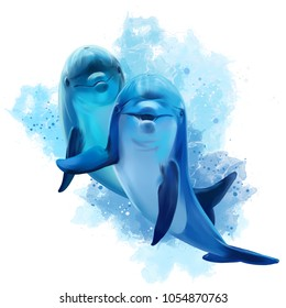 Two blue Dolphins watercolor illustration