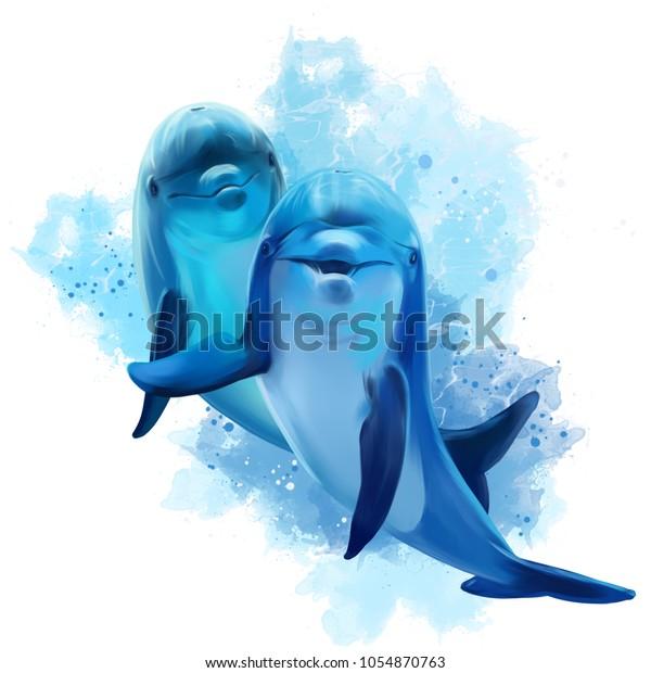 Две голубые Дельфины акварели иллюстрации