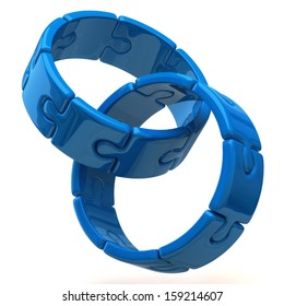 Two blue puzzle rings isolated on white background