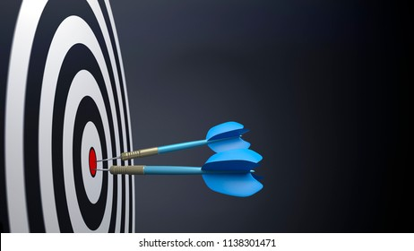two blue typical dart arrows 3D illustration