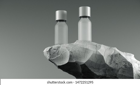 Two bottles of essential massage oil on stone - beauty treatment. Minimal white design packaging mock up. 3d illustration.