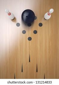 Two Bowling pin on hardwood floor, split position.