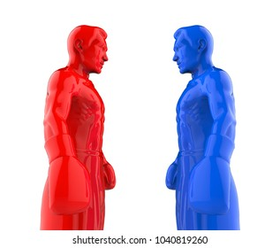 The two boxers stand face to face. 3D illustration isolated on white