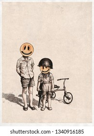 Two boys with emoticons instead of faces. Angry little bikers with retro tricycle. Design Retro Poster. Raster Version Illustration.