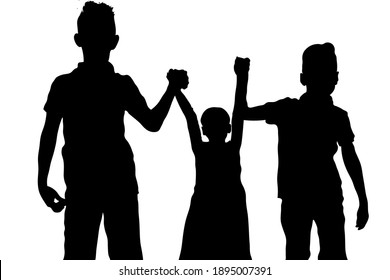 two boys and a girl are holding hands. black silhouettes of people isolated on white