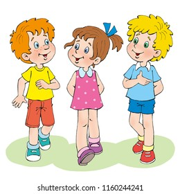 Two boys and one girl are walking along the glade. In cartoon style. Isolated on white background.