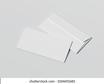 Two bright envelopes isolated on gray background. 3d rendering