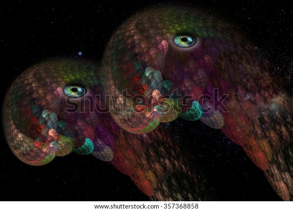 Two bright pearl serpentine space creatures