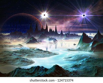 Two brilliant stars with huge planet in orbit above a alien world filled with iridescent blue rock formations and lakes.
