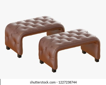 Two brown bench capitone 3d rendering