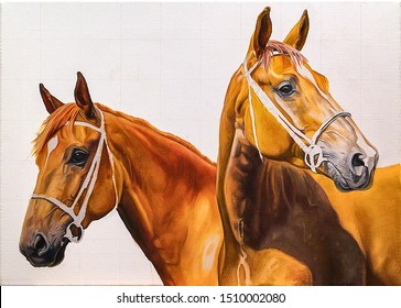Two brown horses. Photo of oil painting image. Photo of painted horses on canvas.