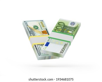 Two bundles of dollar and euro banknotes on white. 3D illustration
