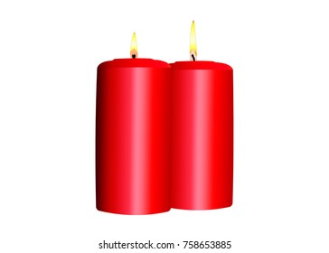 Two burning red candles on a white background