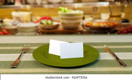 Two business cards standing on a table in restaurant. 3d illustration