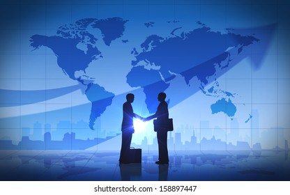 Two business man shake hand silhouettes city with world maps rendered with computer graphic.