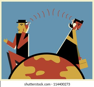 Two business professionals talking long-distance on cell phones