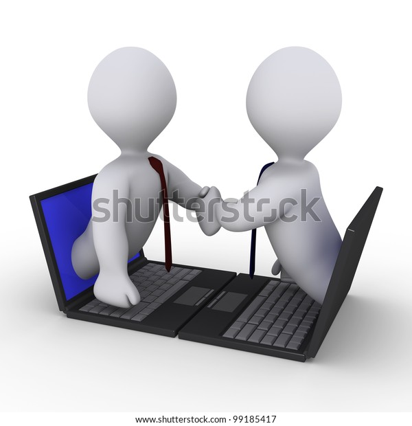 Two businessmen shake hands through screens of laptops