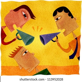 Two businessmen shouting with blow-horns at another man