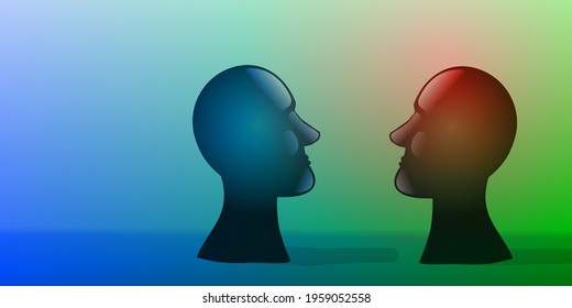 Two bust sculptures facing one in front of other as a symbol of conversation or confrontation,  in a surreal ambient. Digital illustration