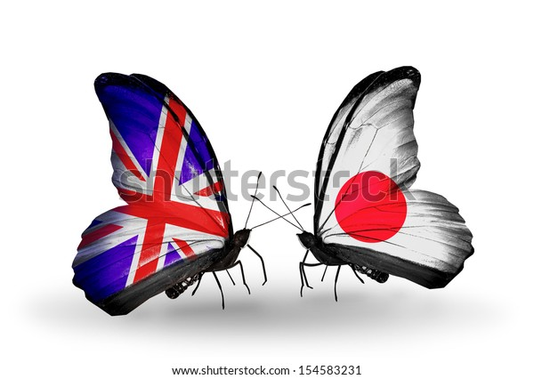 Two butterflies with flags on wings as symbol of relations UK and Japan