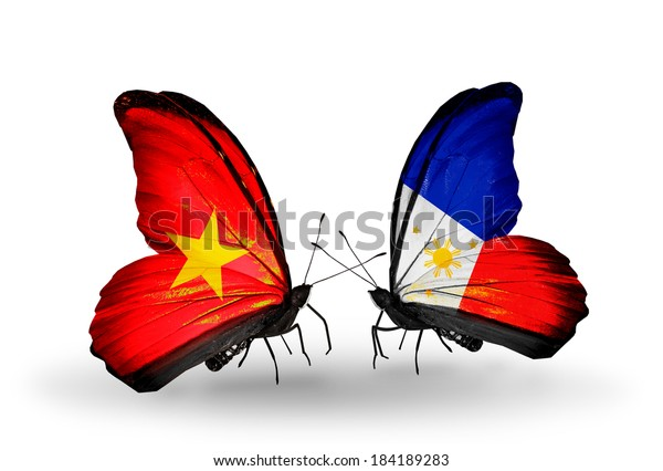 Two butterflies with flags on wings as symbol of relations Vietnam and Philippines