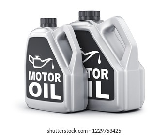 Two can motor oil on white background. 3d illustration