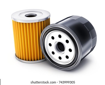 Two car oil filter on white background. 3d illustration