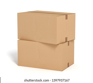 two cardboard box on white backgroaund 3d rendering