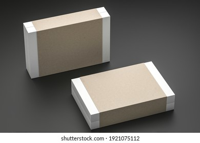 two cardboard paper Box Mockup with paper cover isolated - 3d render