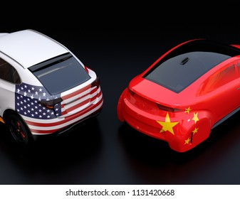 Two cars with China and US flags on rear side.  3D rendering image.