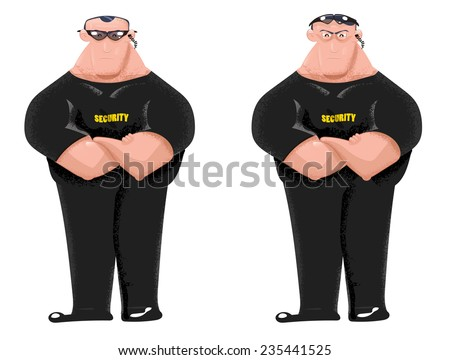 two cartoon bouncers security guards black stock illustration